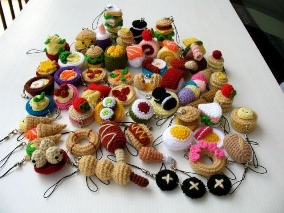 crochet food cell phone charms