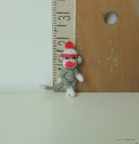 microcrochet sock monkey