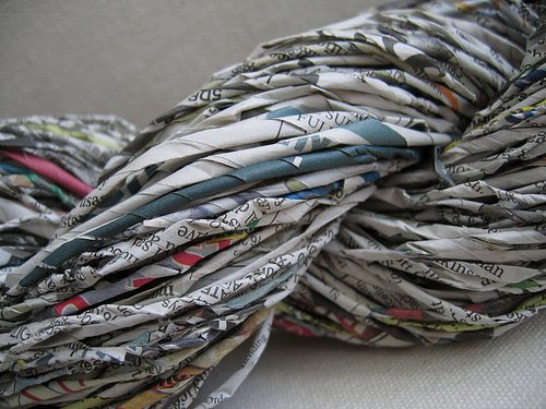 newspaper yarn art Alternative Material Yarn Balls As Art