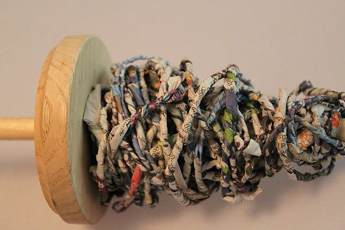 newspaper yarn Alternative Material Yarn Balls As Art