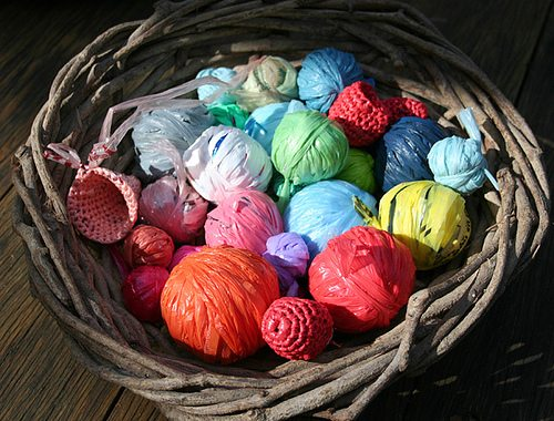 plastic bag yarn art Alternative Material Yarn Balls As Art