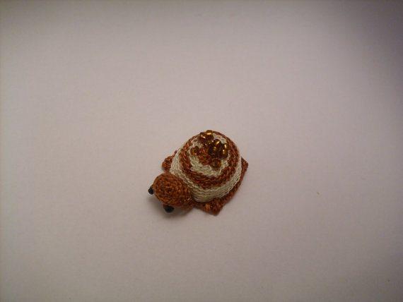 tiny crochet beaded turtle