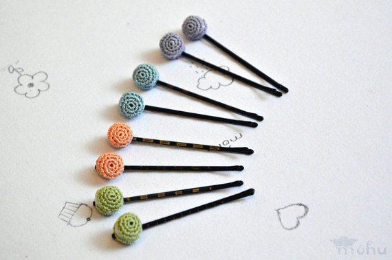 tiny crochet macaron bobby pins