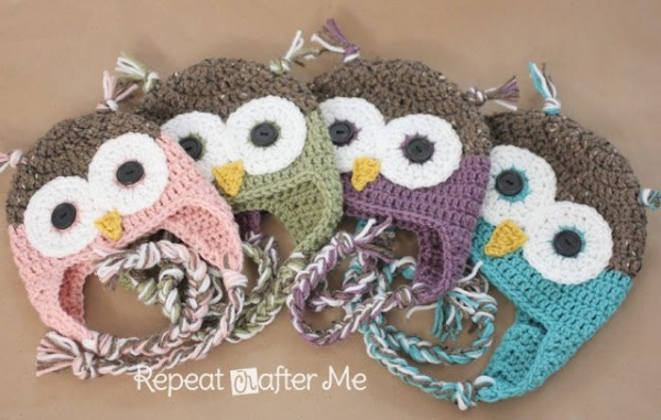 Sarah Zimmerman of Repeat Crafter Me shares this free crochet owl hat pattern that incorporates that ever-popular own into its design.