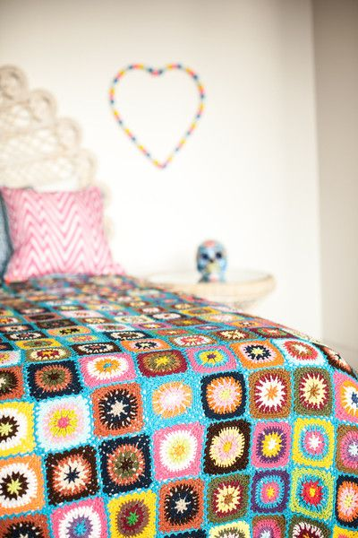bright colored crochet blanket