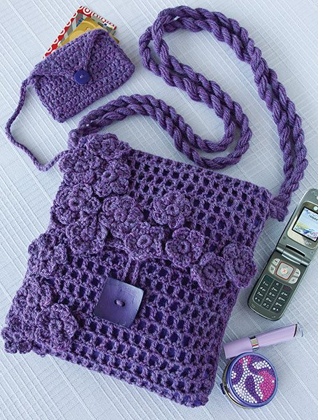 Purple filet crochet purse , pattern in Crochet World newsletter
