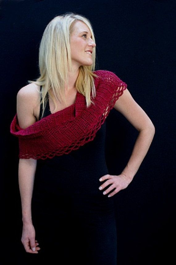 red crochet shawlette