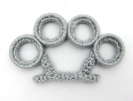 crochet brass knuckles New Work from Crochet Artist Nathan Vincent