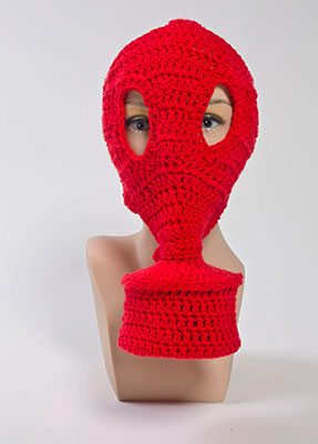 crochet red gas mask
