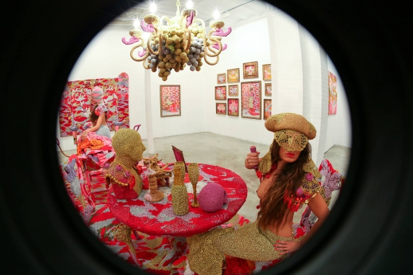 fisheye olek crochet 600x400 New Crochet Art From Olek ... And Fascinating Look at Her Work