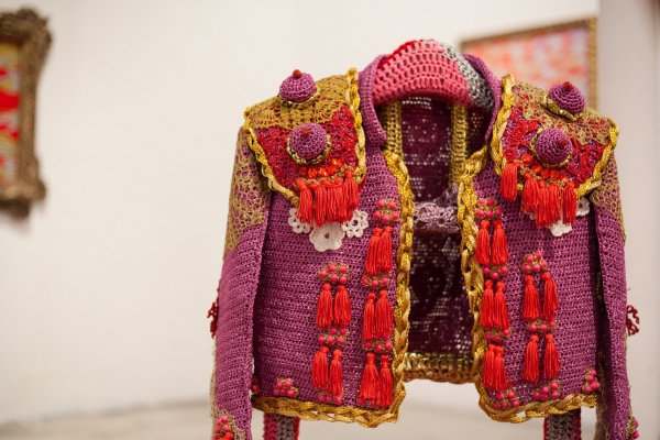 olek crochet jacket 600x400 New Crochet Art From Olek ... And Fascinating Look at Her Work