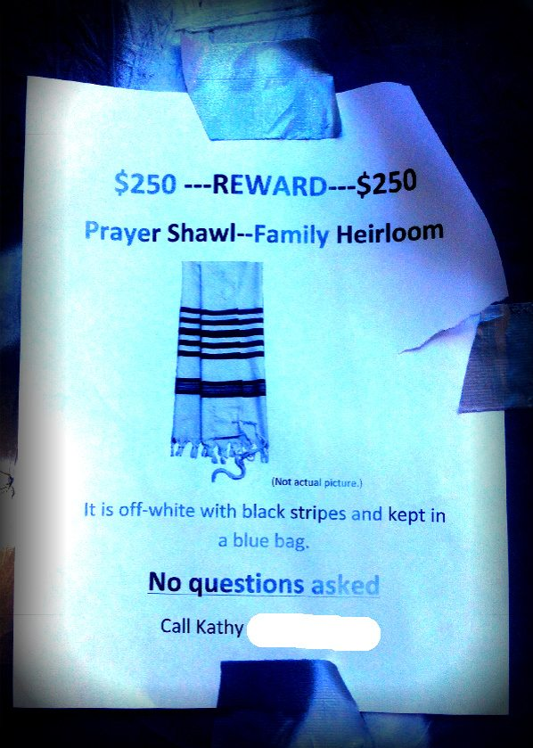 Post image for Missing Prayer Shawl Poster