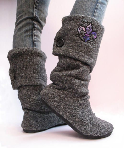 upcycled sweater craft boots 20 Wonderful Tutorials for Unique Upcycled Sweater Crafts