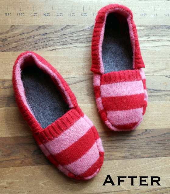 upcycled sweater craft slippers 20 Wonderful Tutorials for Unique Upcycled Sweater Crafts