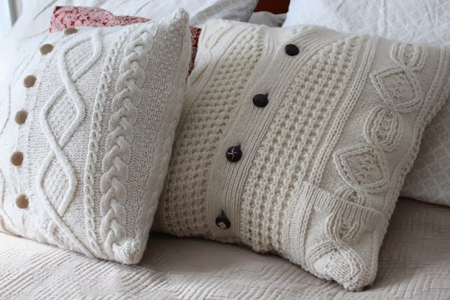 upcycled sweater pillow case craft :