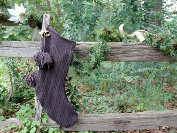 upcycled sweater stocking craft