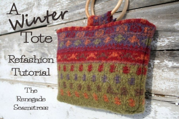 upcycled sweater tote craft