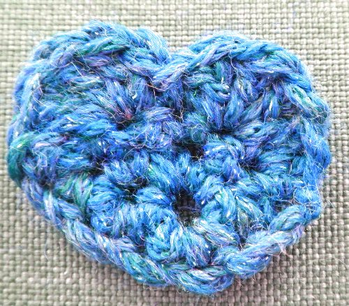 blue crochet heart