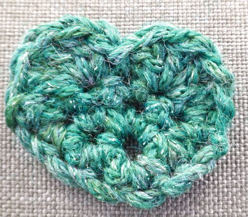 bluegreen crochet heart