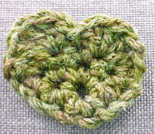 green crochet heart
