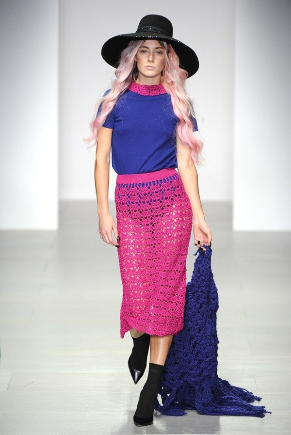 sister by sibling crochet skirts 600x897 New Crochet on the Runway from Sister by Sibling (Autumn/Winter 2014 Fashion Week)