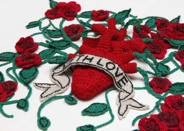 valentines crochet art