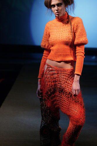 Indra Dovydėnaitė crochet orange Crochet Artwear by Indra Dovydėnaitė