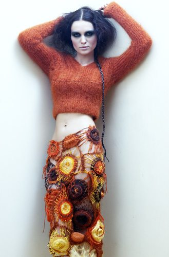 Indra Dovydėnaitė freeform crochet skirt Crochet Artwear by Indra Dovydėnaitė