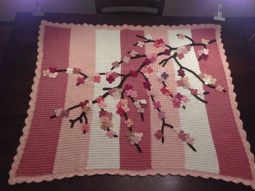 cherry blossom crochet blanket