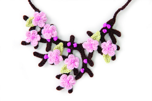 cherry blossom crochet necklace pattern 15 Beautiful Cherry Blossom Crochet Patterns