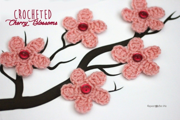 cherry blossom crochet pattern 600x400 15 Beautiful Cherry Blossom Crochet Patterns