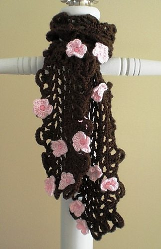 crochet cherry blossom scarf 15 Beautiful Cherry Blossom Crochet Patterns