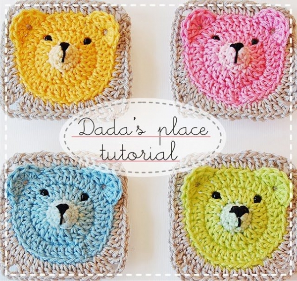 crochet granny square teddy bear
