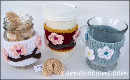 crochet jar cozy 15 Beautiful Cherry Blossom Crochet Patterns