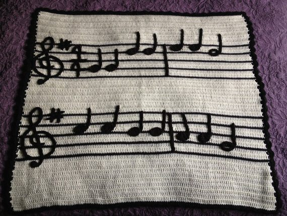Crochet music blanket by Illuminate Crochet