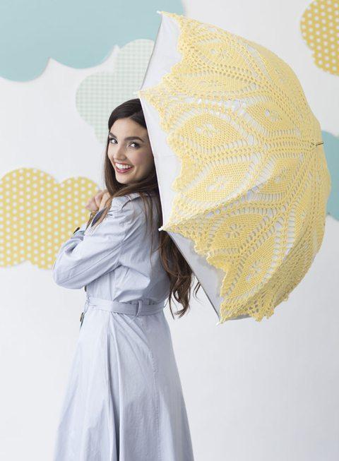 gehaakte gele paraplu