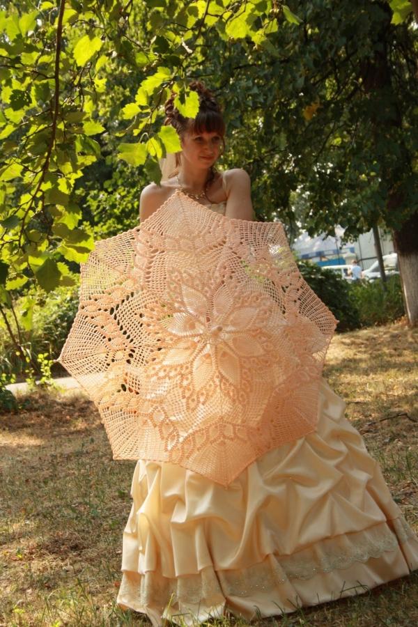 perzik bruiloft gehaakte paraplu