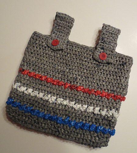 plarn puff stitch crochet tote