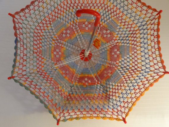 rainbow crochet umbrella