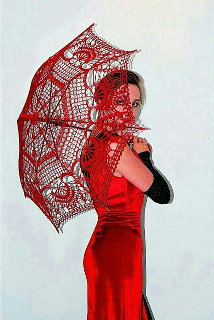 red crochet umbrella