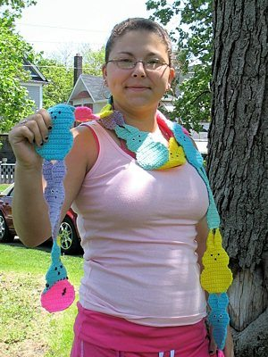 crochet peeps scarf