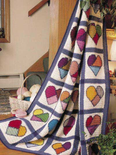 hearts crochet quilt pattern