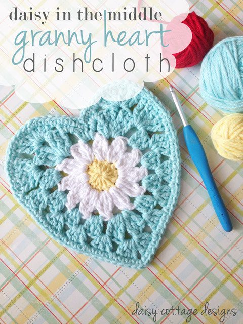 crochet heart dishcloth