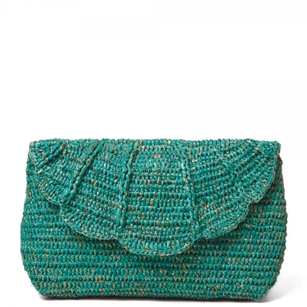 shimmery crochet clutch purse