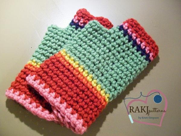 colorful crochet fingerless gloves