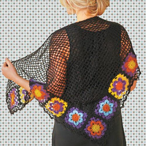 crochet granny square flower shawl