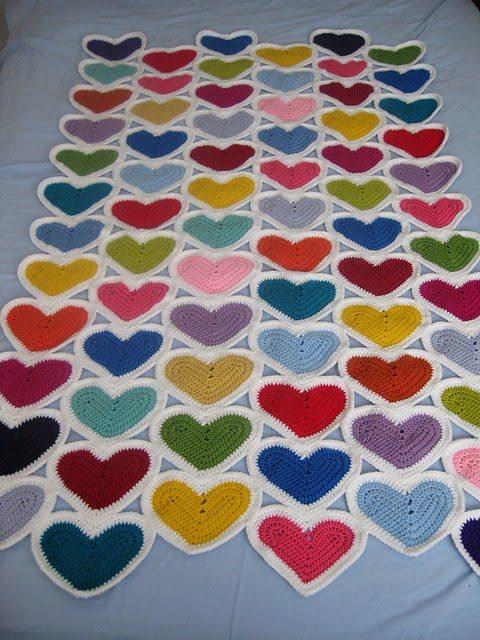 crochet hearts afghan