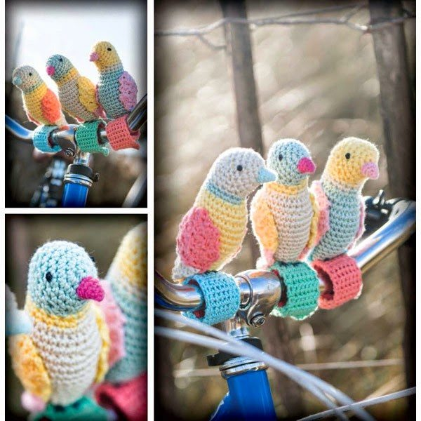 crochet birds bike