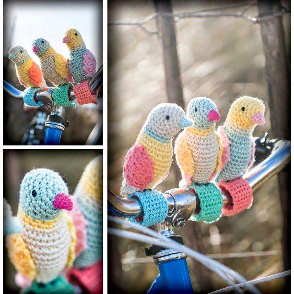 crochet birds bike