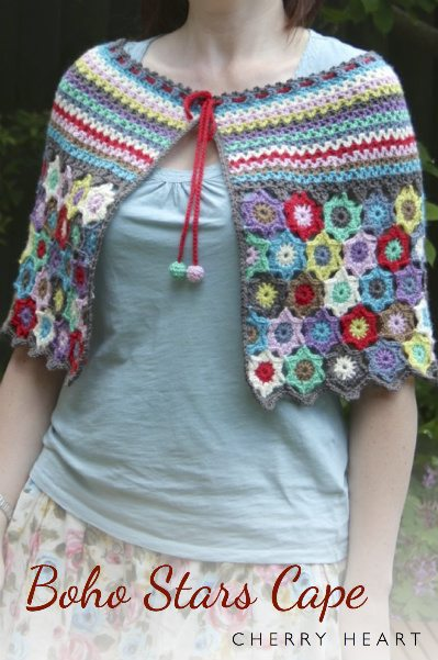 Crochet Patterns Capes : Boho stars crochet cape pattern for sale from @sandracherryhrt